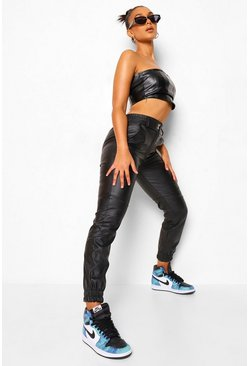 Black Popper Detail Panelled Leather Look Pu Jogger