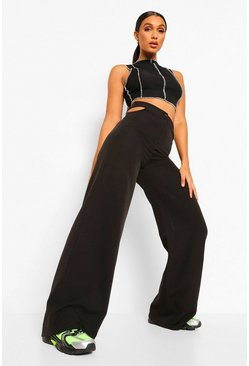 Black Cut Out Wide Leg Woven Trousers