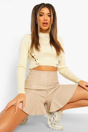 Stone beige Frill Hem Leather Look Pu Shorts