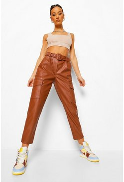 Chocolate Belted Leather Look Cargo Trousers