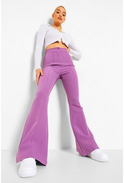 Lilac Binding Detail Woven Flares