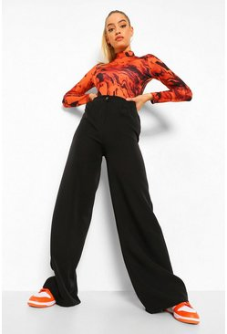 Black Pleat Front Wide Leg Woven Trouser