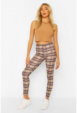 Camel beige Checked Basic Leggings