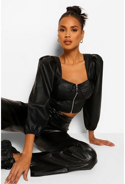 Black Cupped Zip Front Leather Look Pu Top