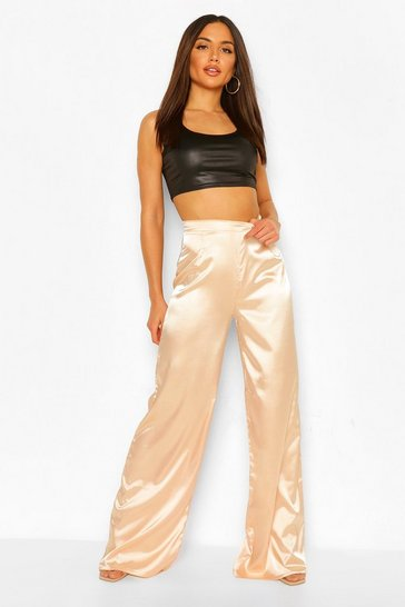 Peach orange Satin Wide Leg Woven Trouser