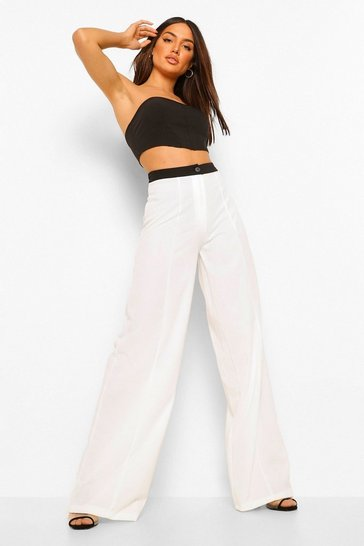 White Contrast Seam Detail Wide Leg Trouser