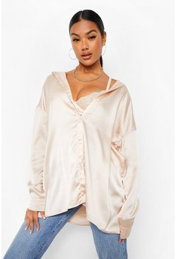 Champagne beige Satin Oversized Shirt