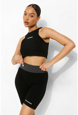 Black Seamless Body Contouring Active Biker Shorts