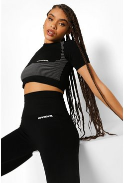 Black Seamless Short Sleeve Body Sculpting Active Crop