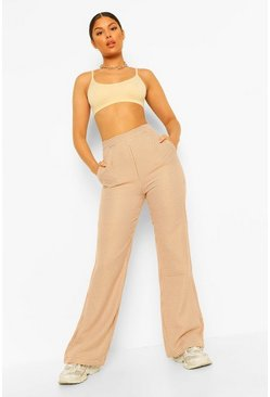 Camel beige Dogtooth Straight Leg Trousers