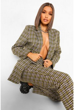 Chocolate brown Checked Boyfriend Blazer