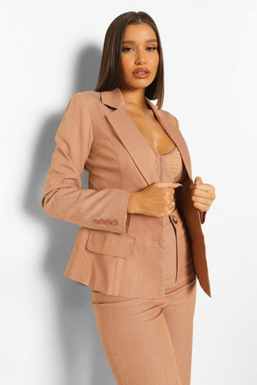 Camel beige Woven Marl Cut Out Back Blazer
