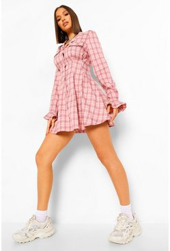 Pink Checked Cinched Waist Skater Shirt Dress