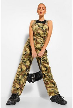 Khaki Camo Denim Boyfriend Dungaree
