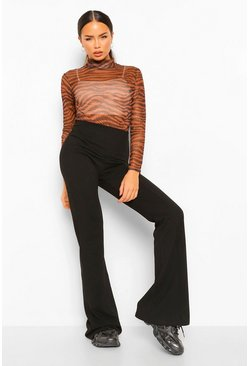 Black Tight Stretch Crepe Piping Detail Flare