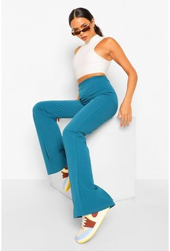 Teal green Tight Stretch Crepe Piping Detail Flare