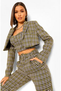 Chocolate brown Checked Cropped Tailored Blazer
