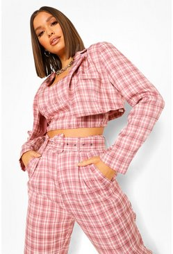 Pink Checked Cropped Tailored Blazer