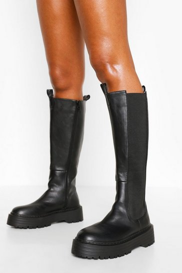 Black Knee High Chelsea Boot