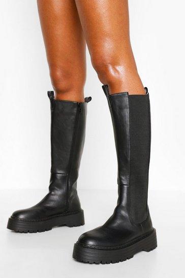 Black Knee High Chelsea Boot