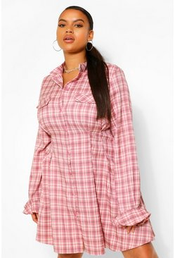 Pink Plus Checked Cinched Waist Skater Shirt Dress