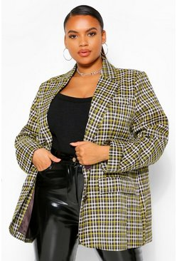 Chocolate brown Plus Checked Tailored Boyfriend Blazer