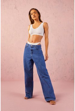 Mid blue blue High Rise 90s Fit Dad Jeans