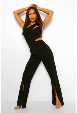 Black Asymetric Cut Out Split Hem Jumpsuit