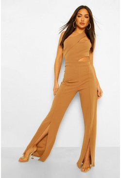 Mocha beige Asymetric Cut Out Split Hem Jumpsuit