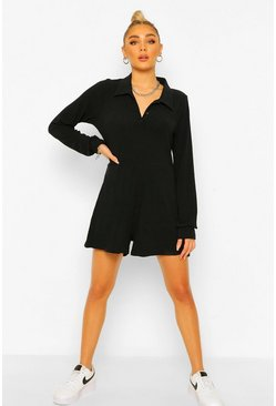 Black Soft Rib Button Detail Romper