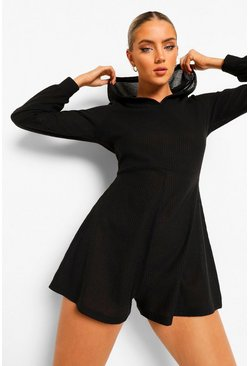 Black Hooded Rib Oversized Romper