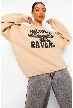 Light sand beige Oversize Printed Overdyed Sweatshirt