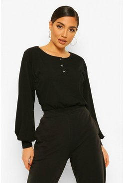 Black Button Detail Volume Sleeve Rib Top