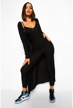 Black Rib Strappy Jumpsuit And Maxi Duster Set