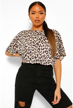 Leopard Print Slash Neck Bodysuit