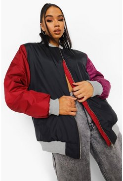 Black Colourblock Padded Bomber Jacket