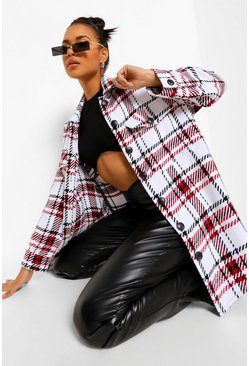 Red Oversized Dogtooth Check Shacket