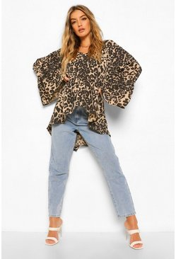 Leopard Print Woven Flared Sleeve Smock Top