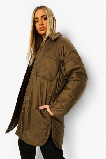 Khaki Padded Shacket