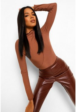 Exposed Seam High Neck Long Sleeve Top, Chocolate marron