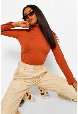 Exposed Seam High Neck Long Sleeve Top, Rust orange