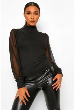 Black High Neck Ribbed Mesh Sleeve Top