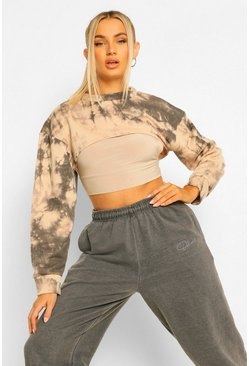 Camel beige Tie Dye Super Crop Sweater