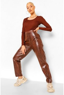Chocolate brown Long Sleeve Rib Cut Out Detail Bodysuit