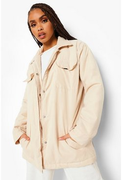 Ecru white Padded Faux Suede Shacket