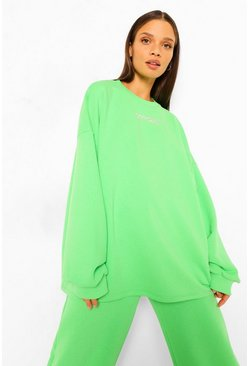 Bright green green Oversized Slogan Sweater