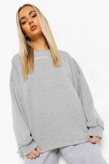 Grey marl grey Grey Oversized Slogan Sweater