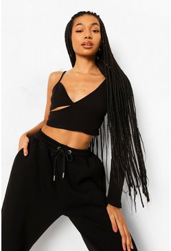 Black Asymetric Rib Crop Top