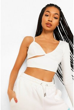 Cream white Asymetric Rib Crop Top