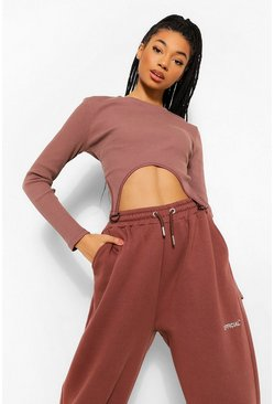 Chocolate brown Buckle Detail Rib Crop Top